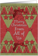 Merry Christmas From All of Us Scrapbook Style Stars and Glitter card