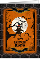 Happy Halloween Grandson Spooky Tree with Owl and Bats card