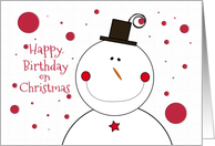 Happy Birthday on Christmas Smiling Snowman with Top Hat card