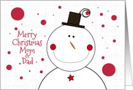 Merry Christmas Mom and Dad Smiling Snowman card
