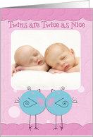 Twin Girls Birth Announcement Blue Birdies Custom Photo Card