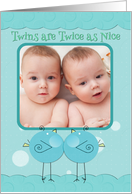 Twin Boys Birth Announcement Blue Birdies Custom Photo Card