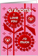 Happy Valentine's Day Grandma Cheerful Hearts and Flowers card