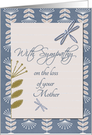 Sympathy Loss of Mother Dragonflies and Flowers card