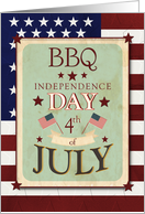 Bar-B-Que Invitation 4th of July Independence Day Stars and Stripes card