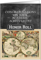 Academic Achievement Congratulations Honor Roll Map Chalkboard Look card