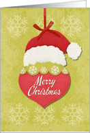 Merry Christmas Santa Hat and Ornament Holiday Greetings card