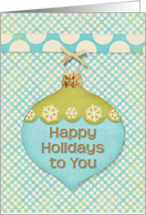 Happy Holidays Blue and Green Ornament with Snowflakes and Polka Dots card