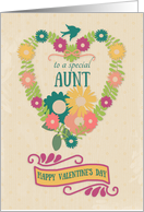 Happy Valentine's Day to Special Aunt Flower Heart with Bird & Ribbon card