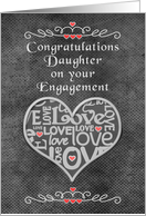 Engagement Congratulations to Daughter Chalkboard Look Word Art card