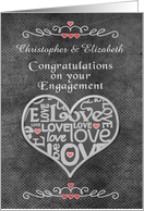 Engagement Congratulations Custom Names Chalkboard Look Word Art card