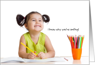 Congratulations on Learning to Write Your Name Smiling Girl card
