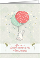 Happy Easter Daughter Bunny Floating with Big Balloons Flowers card