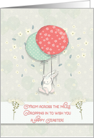 Happy Easter From Across the Miles Bunny Floating Balloons Flowers card