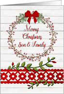 Merry Christmas to Son & Family Rustic Pretty Berry Wreath, Vines card