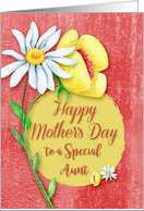Happy Mother's Day to a Special Aunt Pretty Watercolor Effect Flowers card