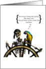 Encouragement Think Positive Humorous Parrot and Pirate Skeleton card