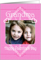 Happy Valentine's Day Grandma Pretty Hearts in Pink Photo Card