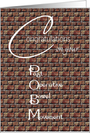 Congratulations on your Post Operative Bowel Movement Humorous Bricks card