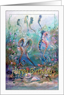 Happy Birthday, colorful Sea Horse Art card