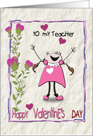 Cheery Valentine from Girl to Teacher card