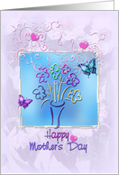 Happy Mother's Day, Butterflies, Hearts and Flowers card