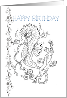 Happy Birthday, Color-Me Sea Horse Art card