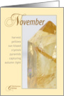 November Citrine Birthstone Birthday card