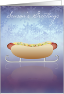 Hot Dog Sled - Snowflake Season's Greetings card