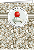 Apple and Car - Driver's Education Teacher Thank You card