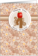 Apple and Numbers - Math Teacher Thank You card
