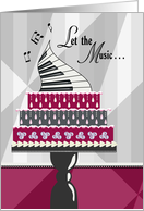 Musician Birthday, Keyboard and Birthday Cake card