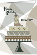 Cowboy Boot on Cake - Happy Birthday card