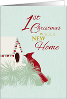 Cardinal and Bird House - First Christmas in New Home card