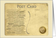 Post Card Congratulations Monogram - Q card