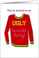 Ugly Sweater Party Invitation: Red, Yellow & Green. Customize me. card