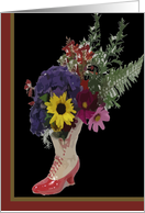 High Button Shoe Flower Arrangement. Coming Out. card
