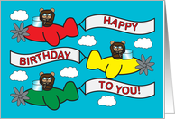 Bears Flying Planes Birthday Card
