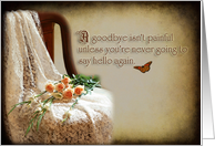 Goodbye/Missing you (Chair with lace, roses and little butterfly) card