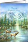 Happy Father's Day, Nature Scene of Elks and Mountain Lake card