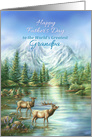 Happy Father's Day Grandpa, Elks and Mountain Lake Nature Scene card