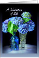 Celebration of Life Memorial Invitation, Blue Hydrangeas card