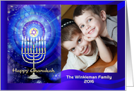 Happy Chanukah, Menorah and Star with Blue Aura, Photo Card