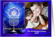 Happy Messianic Chanukah, Menorah with Blue Light, Photo Card