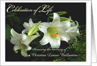 Celebration of Life Invitation, White Lilies Custom Front card