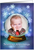 Christmas Snow Globe, Photo Card Customize for Any Relation card