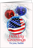 To Sailor, Holiday Greetings to Navy, American Flag Christmas card