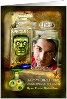 Happy Birthday to Specimen, Creepy Head in Jar Humor Photo Card
