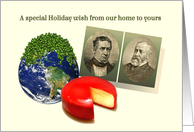From our Home to Yours Humorous Holiday Rebus, Peas on Earth Gouda Wheel card