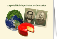 To Co-worker Funny Holiday Christmas, Peas on Earth Gouda Wheel card